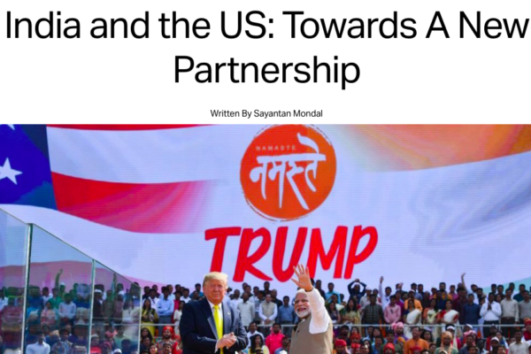 screenshot of transcript with a photo of Trump and Modi