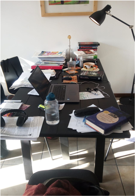 Photo of a messy desk