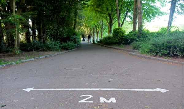Photo of a path with a 2 meters marker