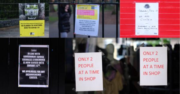 Photo of signs on shop door