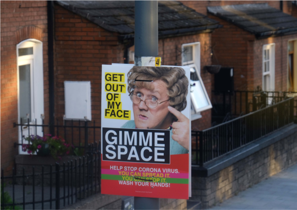 Photo of poster for space giving in times of Covid
