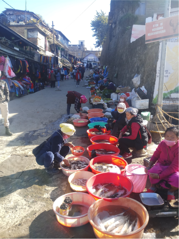 Photo of a market in a street in India