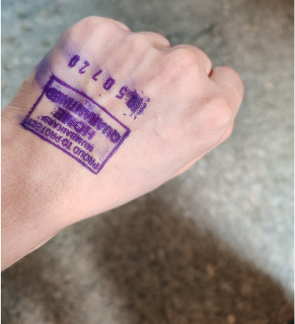 Photo a hand with a stamp for travels